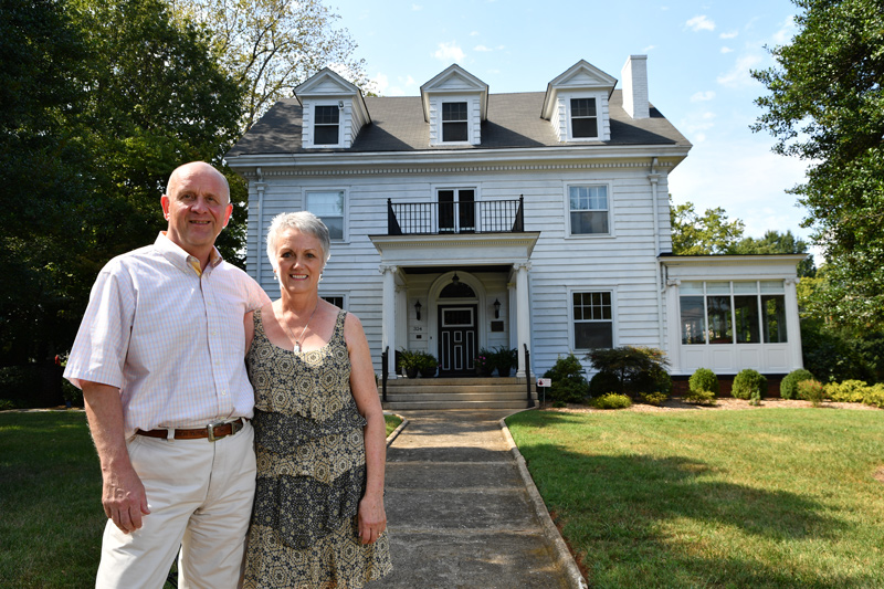 Andrew and Mary Walker, proprietors of Across the Pond Bed & Breakfast in Salisbury. The Walkers undertook a 6-month restoration project to re-open this amazing home originally built in the Colonial Revival style by Dr. J. Edgar Stokes in 1919.